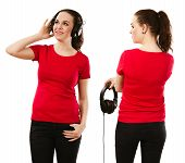 Woman Wearing Blank Red Shirt And Headphones