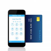 Isolated Touch Phone With Buttons For The Pin Code On The Screen And Credit Card