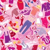Seamless Pattern For Fashion Design - Silhouettes Of Glamor Clothes And Accessories - Colorful Image