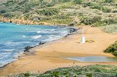 image of gozo  - Ramla Beach the Red Sandy Beach with it - JPG