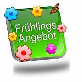 Spring sale button - in german