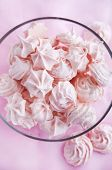 Pink Meringues In A Glass Bowl