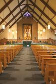 stock photo of church interior  - A beautiful church interior - JPG