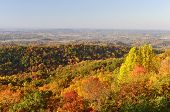 picture of knoxville tennessee  - A colorful scenic view of the Tennessee Valley looking toward Maryville and Knoxville Tennessee USA from Foothills Parkway West near Great Smoky Mountains National Park - JPG