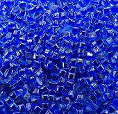 blue plastic polymer granule