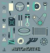 Vector Set: Automotive Parts Icons and Symbols