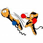 Vector cartoon tiger cub cute young martial arts