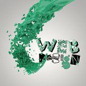 3D Paint Color Splash With Design Word Web Design  As Concept