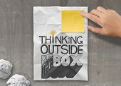 Businessman Hand Drawing Design Word Thinking Outside Of The Box As Concept
