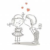 stock photo of hand kiss  - Hand drawn Illustration of kissing boy and girl - JPG