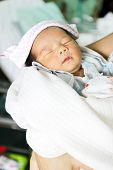 Newborn Asian Baby Girl Sleeping