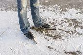 Man With Speed Ice Skates On Ice