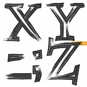 art sketched set of vector grunge character classic black fonts, uppercase symbols, letters X, Y, Z
