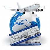 Travel concept. Airplane, earth and tickets. 3d