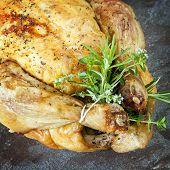 Roast chicken with fresh herbs.
