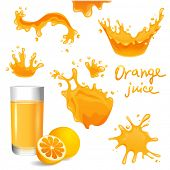 Glass of orange juice, orange and splashes  set