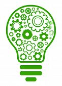 lightbulb gear green concept icon