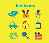 kid icons set, vector
