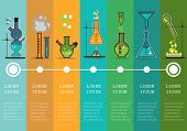 Time line with Chemistry laboratory infographic flat elements vector illustration.