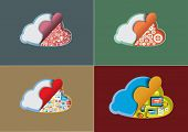Concept of cloud computing set, vector illustration