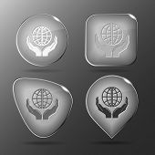 Protection world. Glass buttons. Vector illustration.