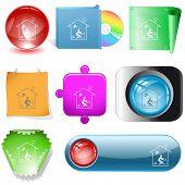 Home inspiration. Vector internet buttons.
