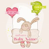 Baby Girl Arrival Card - with Cute Baby Bunny - in vector