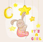 Baby Bunny with Stars and Moon - Baby Shower or Arrival Card - in vector