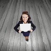 Top view of excited businesswoman holding white blank banner