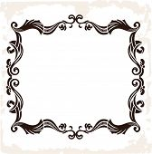 Vector vintage retro frame. Decorative background isolated
