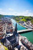 pic of charles de gaulle  - City Dinant with Pont Charles de Gaulle bridge over Meuse river in summer - JPG
