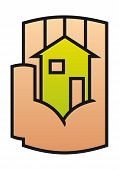 Home icon protected in a stylized hand