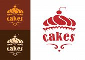 stock photo of food logo  - Cream dessert cakes bakery logo or emblem for food - JPG