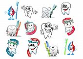 pic of molar  - Cartoon tooth hygiene set with toothbrush and dental paste - JPG