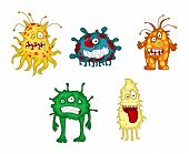 Cartoon monsters and demons set