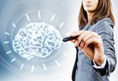 Close up of businesswoman drawing human brain