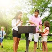 food getting served at family barbecue while children play