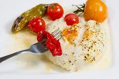 Baked Sole Fish With Vegetables In Sauce