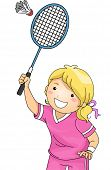 Illustration of a Girl Playing Badminton