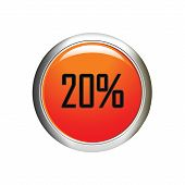 Internet Button. 20 Percent Discount Icon On White Background.