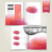 Pink Template For Advertising Brochure With Pink Watercolor Splatters