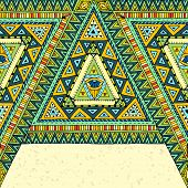 Tribal ethnic background with geometric elements.
