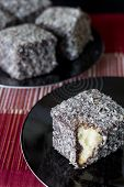 Chocolate Lamingtons - Selective Focus Vertical