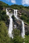 Twin Waterfall Cascading Down A Mountainside