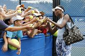 Nine times Grand Slam champion Venus Williams signing autographs after practice for US Open 2014
