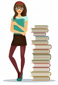 Beautiful young girl student with stacked books