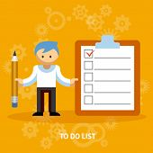 Businessman Cartoon Character with Checklist