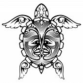 picture of aquatic animal  - Tribal Totem Animal Turtle Tattoo Element - JPG