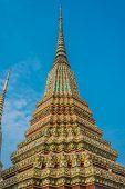 colorful chedi at Wat Pho temple Bangkok Thailand