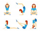 Yoga girl in six positions